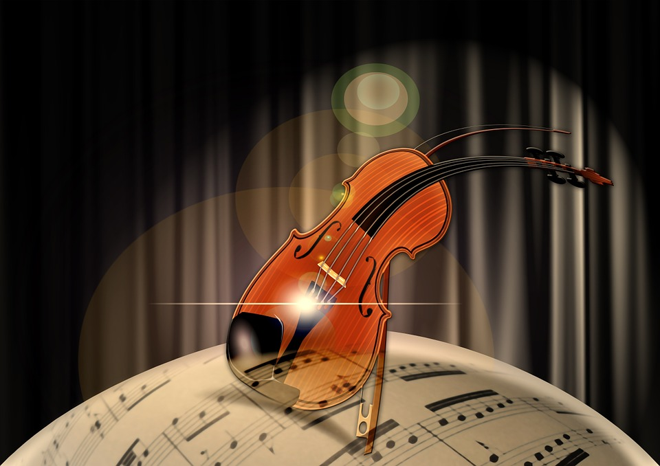 Violin on music globe
