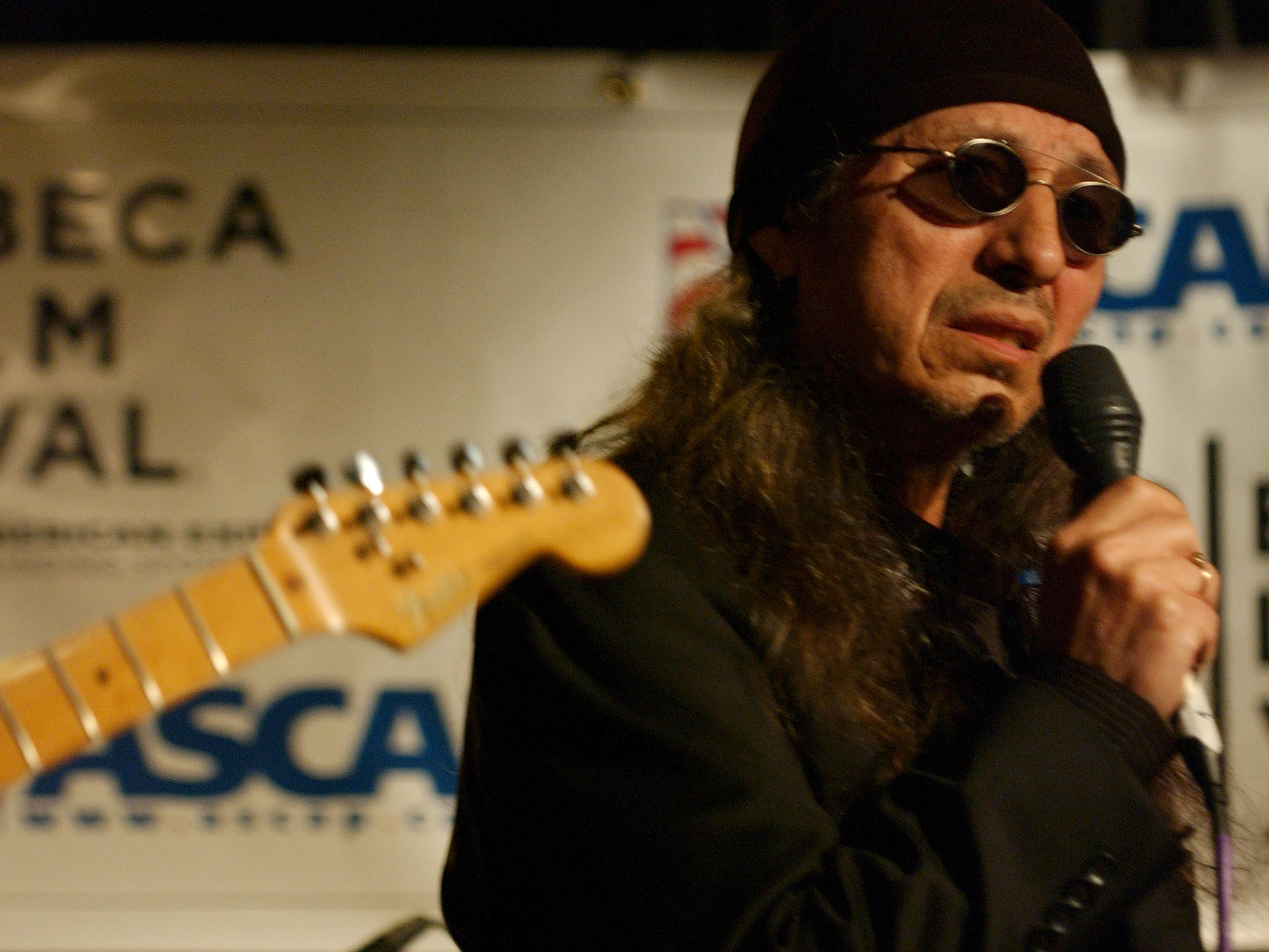 NEW YORK - APRIL 28:  Singer John Trudell Performs During The Tribeca Film Festival Music Panel At The ASCAP Lounge. The ASCAP Music Lounge Is Dedicated To Showcasing The Exceptional Talent Of New Top Emerging Artists At The Knitting Factory April 28 2005 In New York City.  (Photo By Bryan Bedder/Getty Images)